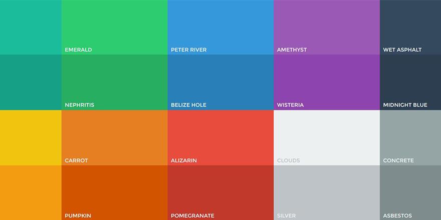 Paleta de colores flat para User Interface