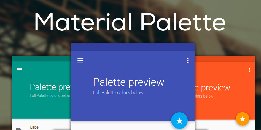 Material Palette colores basados en Google Material Design